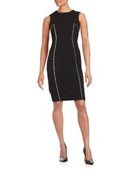 Karl Lagerfeld Studded Solid Sheath Dress Black