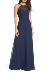 Hayley Paige Occasions Lace Halter Overlay Chiffon Gown Navy