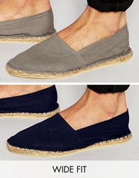 Asos Wide Fit Espadrilles In Grey And Navy 2 Pack Save Multi