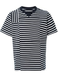 Sacai Striped T Shirt Blue