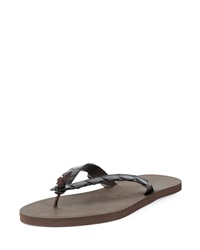 Bottega Veneta Crocodile Embossed Flip Flop Sandal Dark Brown