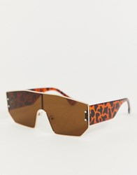 Jeepers Peepers Visor Sunglasses In Tan Brown