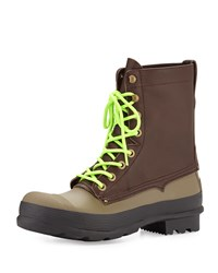 Original Rubber Lace Up Two Tone Boots Brown Green Hunter Boot