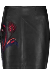 Sandro Jeveu Embroidered Leather Mini Skirt Black