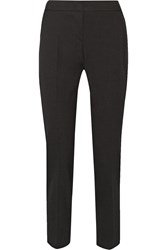 Oscar De La Renta Silk Satin Trimmed Stretch Wool Tapered Pants Black