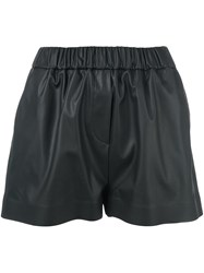 Msgm Faux Leather Shorts Black