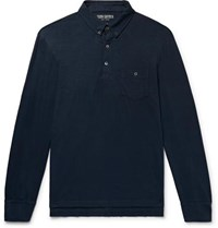 Todd Snyder Button Down Collar Slub Cotton Jersey Polo Shirt Storm Blue