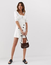 Lost Ink Mini Skirt With Zebra Buttons White