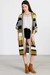 Ecote Striped Maxi Cardigan Red