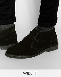 Asos Wide Fit Desert Boots In Black Suede Black Black