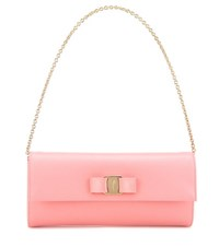 Salvatore Ferragamo Ginny Leather Clutch Pink