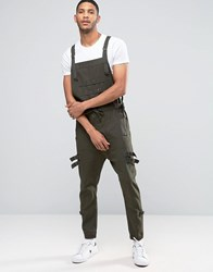 Asos Drop Crotch Dungarees With Strapping In Dark Khaki Forest Night Green