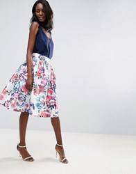 Forever Unique Pleated Floral Skirt Pink Floral Multi