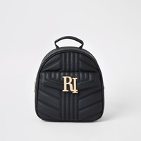 River Island Black Quilted Ri Backpack