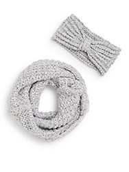 Saks Fifth Avenue Sparkle Knit Infinity Scarf And Headband Gift Set Wool White