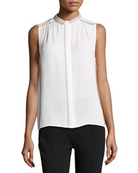 Missoni Sleeveless Contrast Chiffon Top Chalk Flint