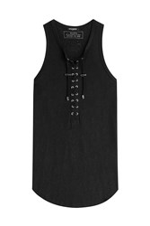 Balmain Lace Up Linen Tank Black