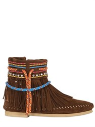 Sarah Summer 10Mm Fringed Reversed Leather Boots