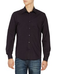 Ben Sherman Long Sleeved Mod Checked Print Sportshirt Dark Plum