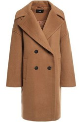 Line Woman Double Breasted Brushed Wool Coat Camel