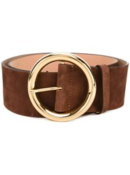 Dsquared2 Glam Waist Belt Women Calf Leather Goat Suede 80 Brown