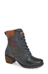 Pikolinos Le Mans Embroidered Lace Up Bootie Ocean Leather