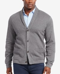 Polo Ralph Lauren Men's Big And Tall Jacquard Fleece Shawl Cardigan Grey