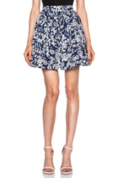 Elle Sasson Buri Ruffle Cotton Skirt In Blue Abstract