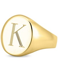 Sarah Chloe Initial Signet Ring In 14K Gold Plated Sterling Silver