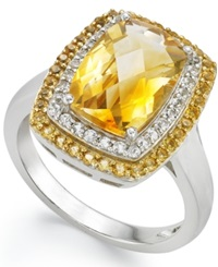 Macy's Sterling Silver Ring Citrine 3 1 3 Ct.T.W. And White Topaz 1 5 Ct. T.W. Rectangle Ring