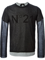 N 21 N.21 Sheer Layered Sweater Black