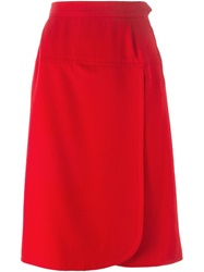 Yves Saint Laurent Vintage Wrap Front Skirt Red