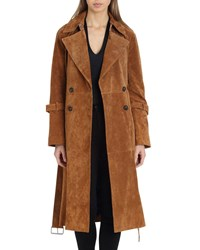 Avec Les Filles Genuine Suede Trench Coat Brown