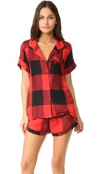 Plush Ultra Soft Short Sleeve Buffalo Plaid Pj Set Red Black Buffalo Plaid