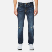 Edwin Men's Ed 80 Slim Tapered Rainbow Selvedge Denim Jeans Contrast Dark Wash Blue