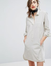 People Tree Hand Woven Oversized Shirt Dress In Light Stripe Grey