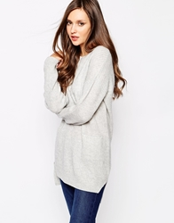 Whistles Rib Knit Cashmere Mix Pocket Tunic Grey