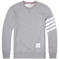 Thom Browne Button Detail Arm Stripe Sweat Light Grey