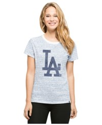 '47 Brand Women's Los Angeles Dodgers Sparkle Stripe T Shirt Blue White