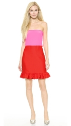 Victoria Victoria Beckham Strapless Ruffled Hem Dress Red Neon Pink