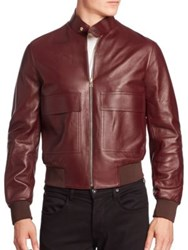 Paul Smith Lamb Leather Jacket Burgundy