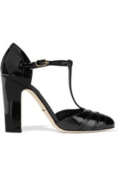 Dolce And Gabbana Patent Leather T Bar Pumps Black