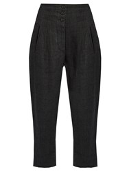Etoile Isabel Marant Jaz Prince Of Wales Checked Linen Trousers Dark Grey