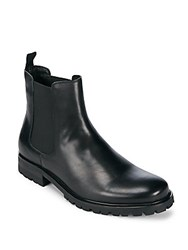 Saks Fifth Avenue Lug Leather Cap Toe Boots Black