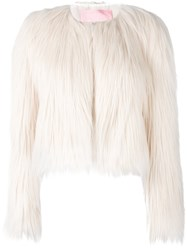 Giamba Collarless Short Coat White