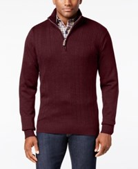 Tricots St Raphael Tricot St. Men's Faux Fur Trim Rib Knit Sweater Ruby Heather