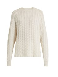 Ryan Roche Crew Neck Cable Knit Cashmere Sweater White