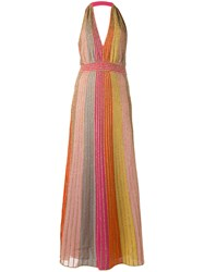 M Missoni Metallic Grey Stripes Dress