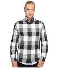 Ben Sherman Long Sleeve Textured Oversized Gingham Woven Shirt True Black Men's Long Sleeve Button Up
