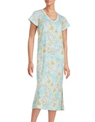 Miss Elaine Plus Floral Print V Neck Nightgown Yellow Aqua
